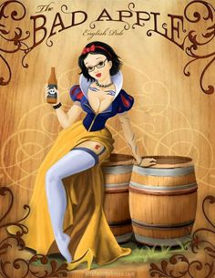 The Bad Apple started as an idea to make a pin-up style illustration of Snow White, and turned into a concept ad for a [fake as far as I know] pub. The Bad Apple Disney Pin Up, Disney Gone Bad, Pinup Art, Princesas Da Disney Punk, Naughty Disney Princesses, Twisted Disney Princesses, Alternative Disney Princesses, Disney Villains, Punk Disney Characters