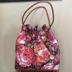 "BRAHMIN ""TRINA"" BAG Brand new with tags, dust bag and registration card included. Gorgeous ""Trina"" Pink Hemingway bag.  Genuine leather. 2 outside side zipper pockets 1 zipper pocket, 2  slip pockets,  leather pen loops,  inside goldtone key clip 12.0"" W x 11.50"" H x 5.50"" D,  Handle length is about 15.0""  Lined with Brahmin's new signature stripe jacquard material inside and in all pockets, Gold tone footed bottom.TRADESLOWBALL Brahmin Bags Shoulder Bags"