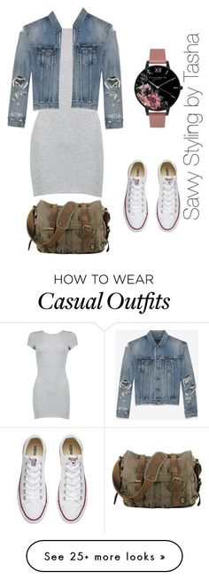 """""""Casual Day"""" by vintagechic360 on Polyvore featuring Boohoo, Converse, Yves Saint Laurent, Olivia Burton, outfit, dress and sneakers"""