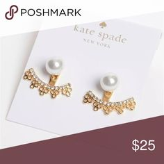 """NWT Kate Spade Chantilly Charm Ear Jackets Gold Gold-tone mixed metal. Imitation pearl Approximate drop: 1/2"""". Comes on earring card kate spade Jewelry Earrings"""