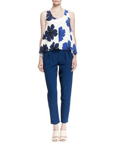 Florals Printed Swing Tank and Pleated Two-Tone Cady Pants by Chloe at Neiman Marcus.