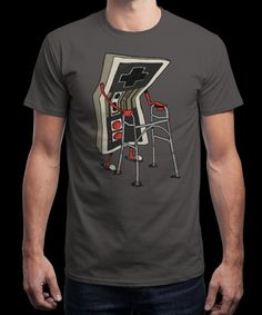 """""""Old Gamer"""" is today's £9/€11/$12 tee for 24 hours only on www.Qwertee.com Pin this for a chance to win a FREE TEE this weekend. Follow us on pinterest.com/qwertee for a second! Thanks:)"""