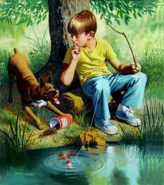 """'Shhh, He's about to Bite.' (1950)  - """"Looking at the quiet flowing stream rather than at the intrusive cellphone screen"""""""