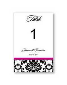 The American Wedding – Victoria Damask Table Card Wedding Invitations - The American Wedding – Victoria Damask Table Card Wedding Invitation
