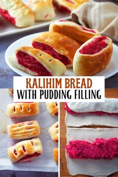 Kalihim is as pretty as it is tasty. Soft and delicious with a sweet, bright-red pudding filling, this bread, also known as Pan de Regla, makes a great breakfast or snack treat. #bread #filipinofood #bakedgoods Filipino Bread Recipe, Filipino Recipes, Filipino Food, Pinoy Food, Asian Recipes, Asian Desserts, Fun Desserts, Asian Snacks, Red Bread
