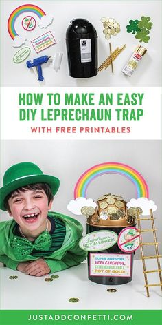 Looking for some St. Patrick's Day fun? Make an easy DIY leprechaun trap with your kids! With only a few simple materials, a swing top mini trash can, and free printable signs you will be able to whip up this St. Patrick's Day craft in no time! #leprechauntrap #stpatricksdaycrafts #stpatricksdaycraftsforkids #JustAddConfetti