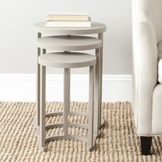 Safavieh Sawyer Light Grey Stacking Table (Set of 3) | Overstock.com Shopping - The Best Deals on Coffee, Sofa & End Tables