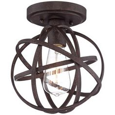 Industrial Atom 8 Wide Edison Bronze Ceiling Light lamps plus