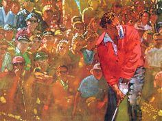 Arnold Palmer by Bernie Fuchs. Art And Illustration, Fuchs Illustration, Creative Illustration, Golf Club Art, Golf Art, Golf Painting, Figure Painting, Coaster Art, Paintings I Love