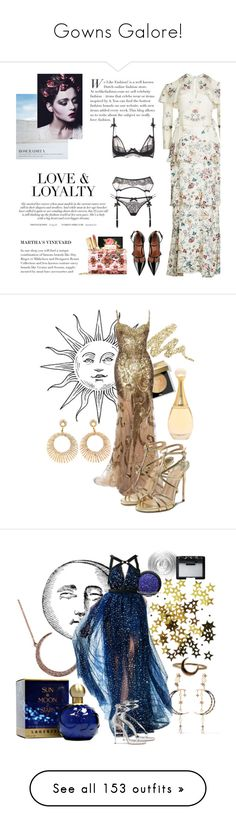 """""""Gowns Galore!"""" by mrs-snow ❤ liked on Polyvore featuring dresses, gowns, long dresses, vestidos, georges hobeika dresses, couture dresses, long green evening dress, couture evening gowns, Vilshenko and Yves Saint Laurent"""
