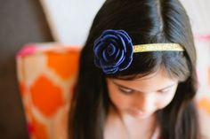 Navy flower headband by Sara Rae
