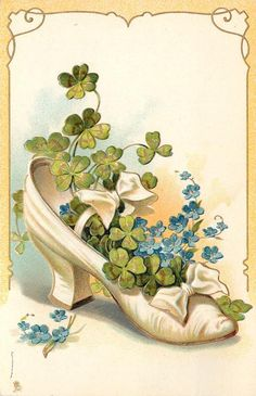 1906 White shoe with shamrocks & forget-me-nots postcard Vintage Greeting Cards, Vintage Postcards, Vintage Pictures, Vintage Images, St Patricks Day Cards, Irish Blessing, St Paddys Day, Vintage Birthday, Vintage Labels