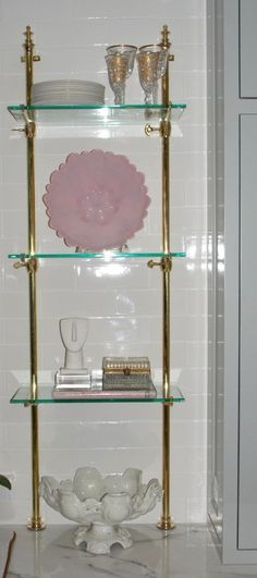 28: VINTAGE FRENCH BRONZE BRASS PASTRY GLASS SHELVES on | Glass ...