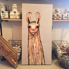lovely little llama on canvas
