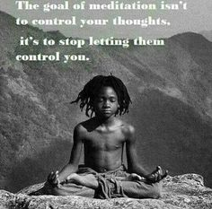 QUOTE, Spirituality:  'The goal of meditation isn't to control your thoughts, it's to stop letting them control you.'