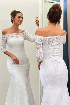 Buy Mermaid Off-the-Shoulder Lace Sweep Train 3/4 Sleeve Top Lace-up Wedding Dresses uk on https://www.promdress.me.uk/