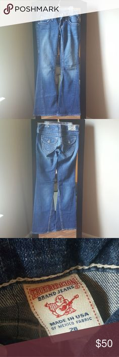 True Religion Joey Flare jeans **If interested in both pairs I will combine the listing for reduced shipping and drop price slightly.**True Religion Joey Flare jeans. Inseam 31 inches. In excellent shape always dried hanging versus dryer. True Religion Jeans Flare & Wide Leg
