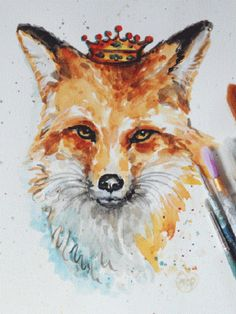 Original Fox painting, Red Fox with Crown, red fox painting, watercolor wildlife, OOAK Watercolor painting on Etsy, $68.13 AUD