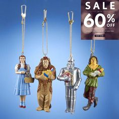 #manythings . #Dorothy, Cowardly #Lion, Scarecrow, and Tinman Blow Mold Clip On Ornaments. Set of 4. Made from plastic and metal. Approximately 3.5 inches tall (9...