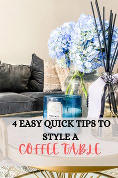 Affordable easy ways to style a coffee table with candles, decorative trays and floral arrangements Coffee table decor and hydrangea inspiration for the living room #homedecor #coffetablestyle #interiordesign #livingroom #hydrangeas #candles #decorativetrays #easyhomedecor #affordable #affordablestyle #floral Coffee Table Styling, Diy Coffee Table, Decorating Coffee Tables, Decorative Trays, Urban Rustic, Decorating Ideas, Decor Ideas, Easy Home Decor, Dream Decor