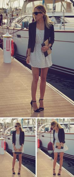 white/black dress with blazer
