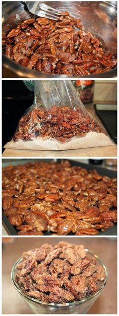 all-food-drink: Cinnamon Sugar Pecans Recipe Made Great snack, easy to do and the hubby loved them! Pecan Recipes, Candy Recipes, Snack Recipes, Dessert Recipes, Cooking Recipes, Cooking Tips, Cinnamon Sugar Pecans, Sugared Pecans, Candied Nuts