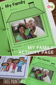 Find activities and ideas for your My Family or All about Me theme unit or lesson plans in your preschool or pre-k classroom. Kids can draw pictures or add a photo of their family on this free printable activity sheet. Use as a take-home activity to get parents involved. Display on the bulletin board or bind all your students' pages together to make a class book to share at circle time or leave in your class library. Use at Thanksgiving or during the first week too Phonemic Awareness Activities, Language Activities, Hands On Activities, Literacy Activities, Class Books, Class Library, Learning Sight Words, Welcome Students, Family Theme