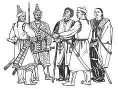 Archaeological reconstructions:    Gyula László    A pioneer in the field was renowned archaeologist and artist Gyula László. Based upon archeological finds he used his artistic skill to give a better insight into the clothing of ancient Hungarians.    A group of males
