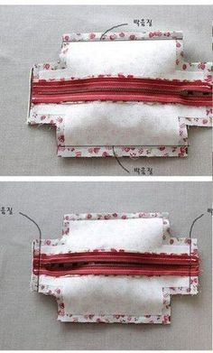 DIY Block Zip Pouch Sew Pattern Tutorial with Template Handbag Tutorial, Zipper Pouch Tutorial, Purse Tutorial, Sewing Hacks, Sewing Tutorials, Sewing Projects, Tutorial Sewing, Makeup Bag Tutorials, Beginners Sewing