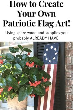 Learn how to create patriotic flag art for your home! Home Crafts, Diy Home Decor, Diy Crafts, Front Door Decor, Front Porch, Patriotic Decorations, Patriotic Crafts, Flag Art, Jar Centerpieces