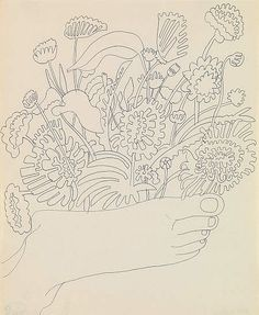 Andy Warhol -Foot with Flowers - 1958 - Ink on Paper.