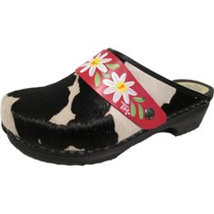 Black and White Cow , your choice of snap-strap. Tessa Clog