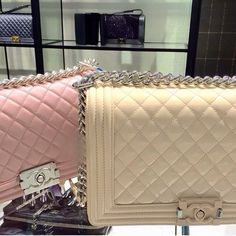 12b02b552023 Chanel Le Boy Handbag in Pastel pink and Cream see more luxury posts like  this at flowerchild.