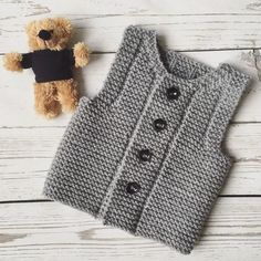 Gray Baby Vest Knitting pattern by Ana Valen : Gray Baby Vest Knitting For Kids, Baby Knitting Patterns, Baby Patterns, Hand Knitting, Vintage Knitting, Knitting Needles, Baby Boy Vest, Toddler Vest, Baby Baby