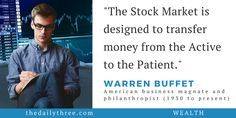 """""""The Stock Market is designed to transfer money from the Active to the Patient.""""   - WARREN BUFFET (1930 to present) American business magnate and philanthropist"""