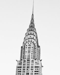 New York Architecture Photography, Chrysler Building, Black and White Minimalist Home Decor, Urban Wall Art, Geometric, Art Deco. By Kaitlin Rebesco.