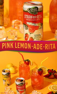 Two of your favorite Bud Light Lime Ritas combine to make the ultimate adult summer beverage, Pink Lemon-Ade-Rita! Just pop open two cans of Lemon-Ade-Rita and Straw-Ber-Rita and pour 4 oz of each over ice in mason jars. Stir it up and garnish with a lemon wheel and strawberry. Our version of a spiked pink lemonade is a delish way to make your summer fiesta way more fun ;)