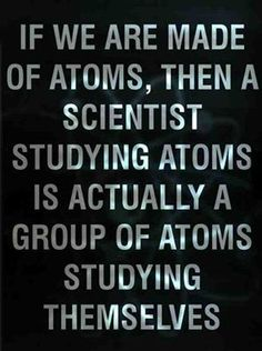 That's why Carl Sagan said we are a way for the cosmos to know itself. DUH