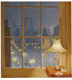 Huguette Clark painted this work and had a vast collection of dolls, rare books, musical instruments and artwork in her unlived-in apartments on Fifth Avenue. Window view painting of New York car lights, blue background, Japanese figurine lamp and brown cloth covered table