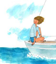 Illustration Française, Illustrations, Cartoon Girl Drawing, Girl Cartoon, Pretty Art, Cute Art, Boat Drawing, Art Mignon, Little Paris