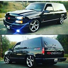 #BecauseSS custom 2 door blazer. This is sweet! chevrolet tahoe with a newer silverado front clip and camaro wheels! two