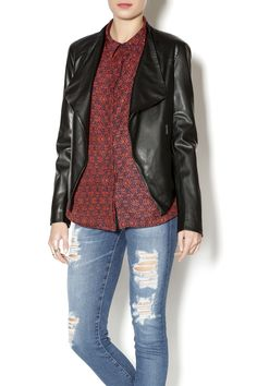 In need of a faux leather jacket? This smooth BB Dakota jacket with an asymmetrical front drape, zip pockets, and textured shoulder detailing is the perfect choice! Faux Leather Jacket by BB Dakota. Clothing - Jackets, Coats & Blazers Missouri Illinois