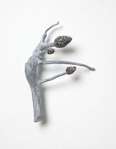 """""""Raduga Buds 3"""", brooch, 2014. Wood, graffiti, silver, stainless steel. Photo: Mirei Takeuchi"""
