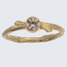 Engagement Ring - Champagne Diamond Bezel -Twig Solitaire  -  Gold  Branch  with Buds  -  As seen in Lucky Magazine