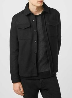 Shop men's shirts at Topman. of smart, casual, long sleeve and short sleeve shirts to choose from. Shirt Jacket, Shirt Outfit, Shirt Dress, Black Wool, Suits You, Street Wear, Asos, Leather Jacket, Mens Fashion