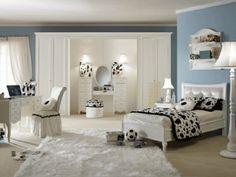 deco chambre ado fille en noir et blanc et tapis shaggy