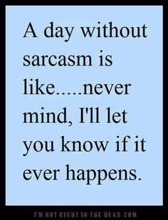 A day without sarcasm. We probably would've never talked if it weren't for sarcasm lol Funny Quotes For Teens, Funny Quotes About Life, Great Quotes, Me Quotes, Humor Quotes, Random Quotes, I Love Sarcasm, Teen Humor, Sarcastic Quotes