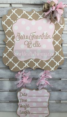 Personalized Quatrefoil Baby Announcement Sign by SparkledWhimsy personalize door decoration baby shower monogram shower decoration children wall art Sparkled Whimsy nursery baby announcement hospital sign baby door hanger pink tan
