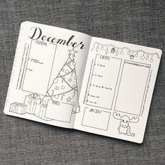 Bullet journal inspiration December monthly page month at a view with Christmas tree.