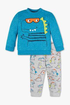 Babys - Baby-Outfit - 2 teilig - blau-melange